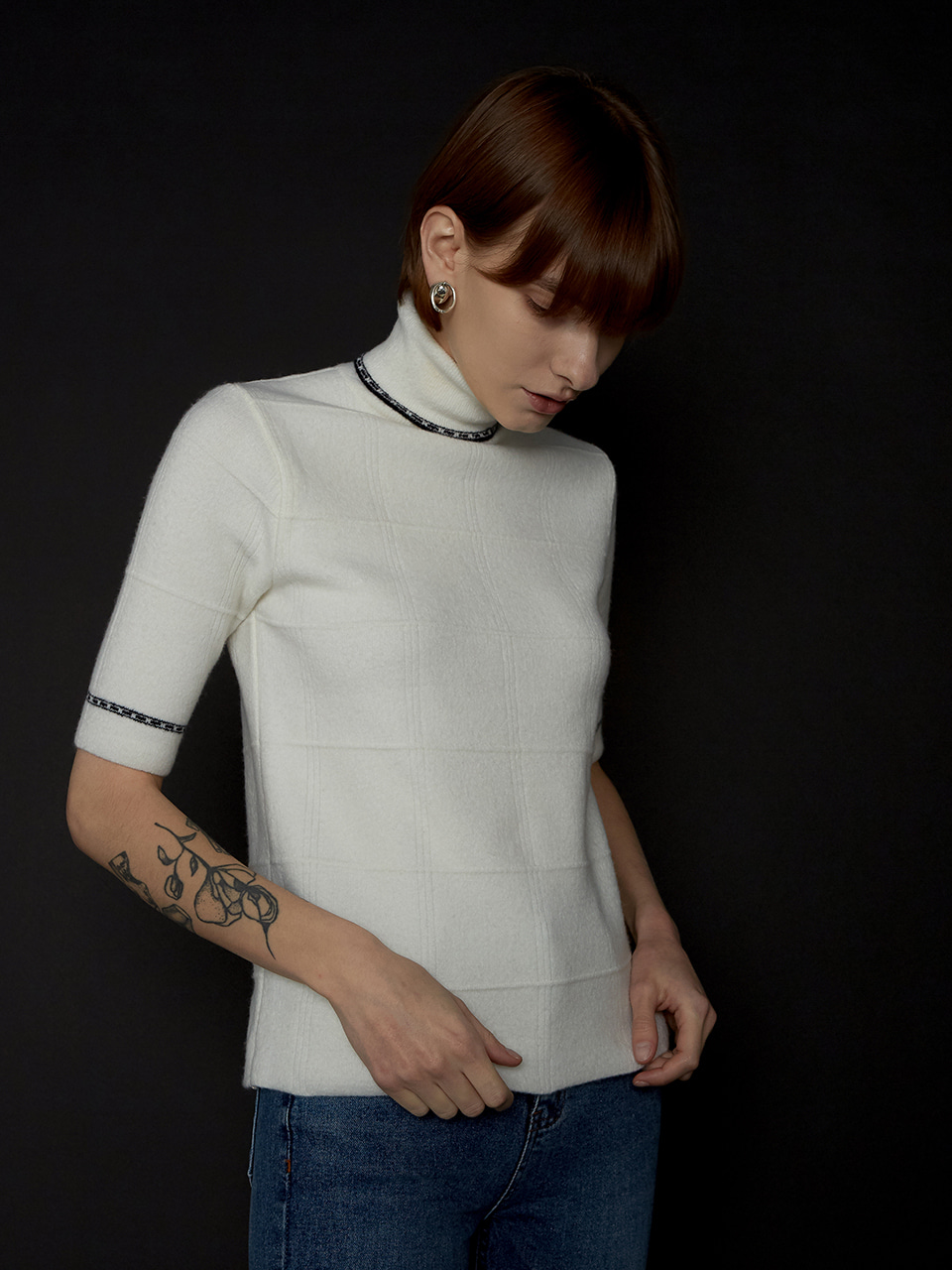 WOOL JACQUARD HIGHNECK KNIT_IVORY