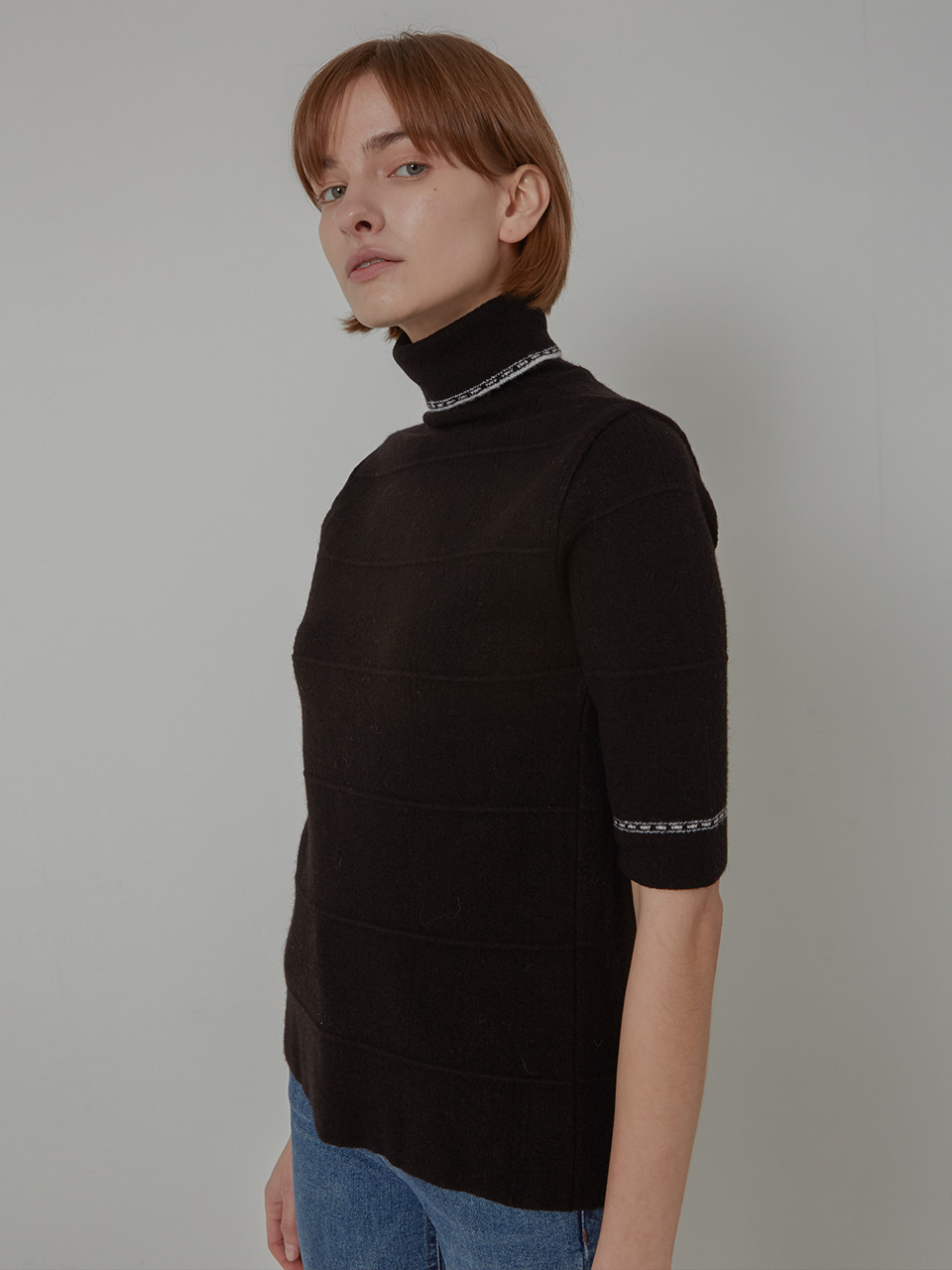 WOOL JACQUARD HIGHNECK KNIT_BLACK
